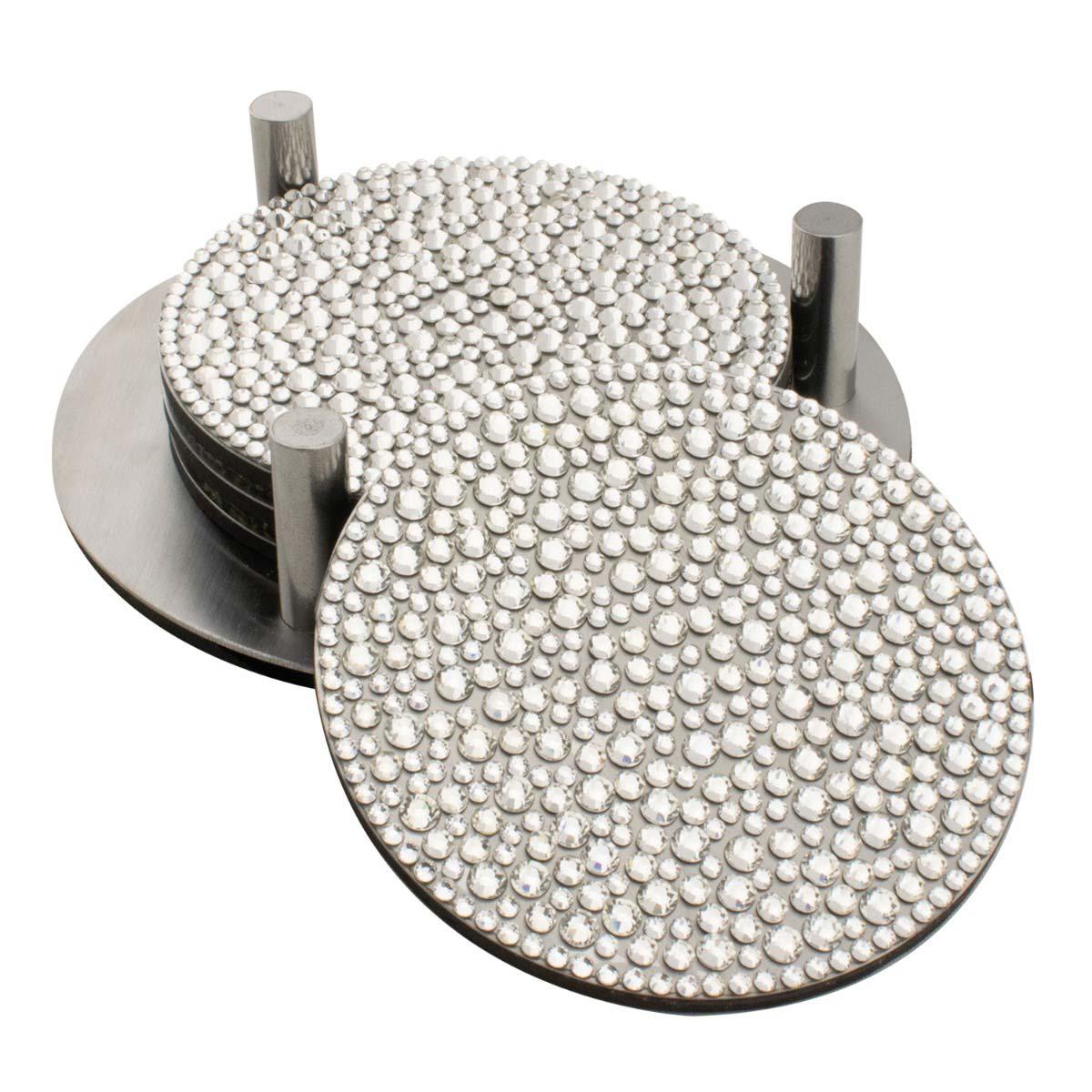 Sparkles Home Strass Coaster Set (Set of 4 w/ Holder)